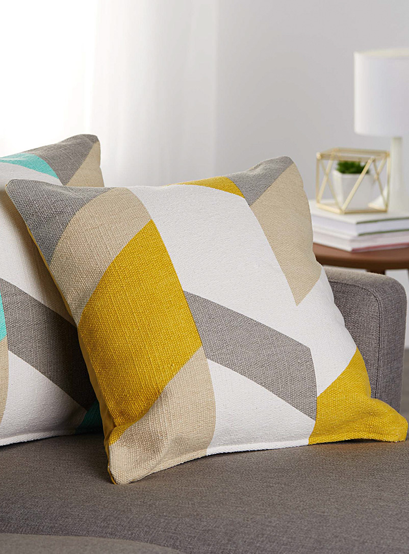 Colour block cushion  50 x 50 cm - Cushions - Dark Yellow
