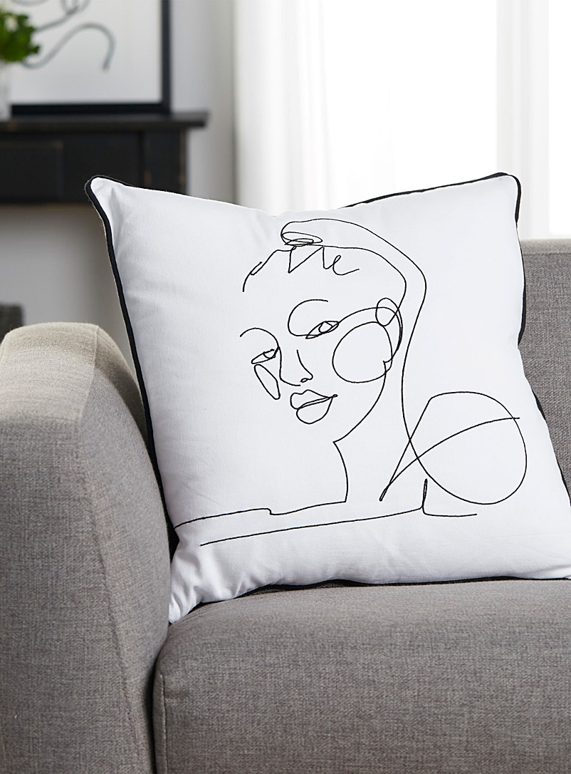 Drawn face cushion  50 x 50 cm - Printed - Black and White