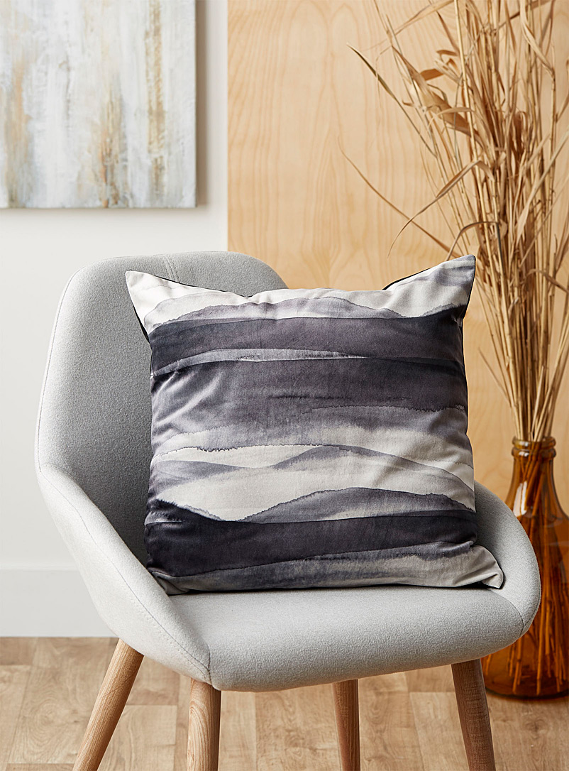 Kas Australia Patterned Black Watercolour strata cushion  50 x 50 cm