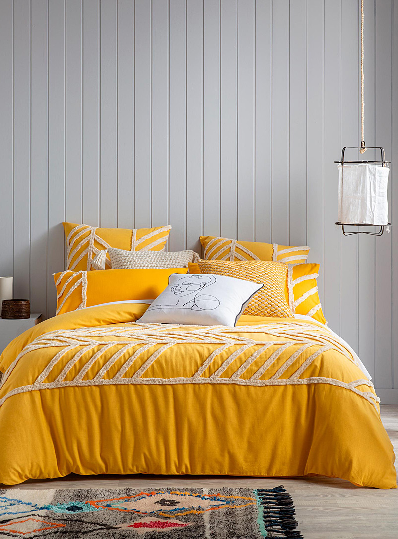Chenille geometric duvet cover set - Duvet Covers - Medium Yellow