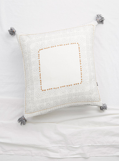 Embroidered oasis Euro pillow sham