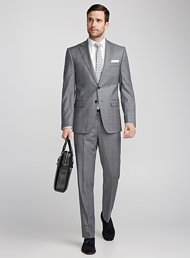 Chambray Prince of Wales suit <br>Semi-slim fit