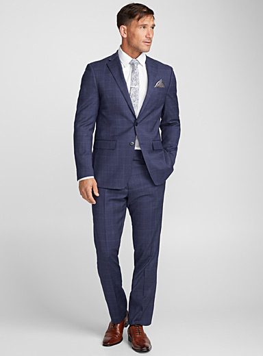 Indigo check suit <br>Semi-slim fit