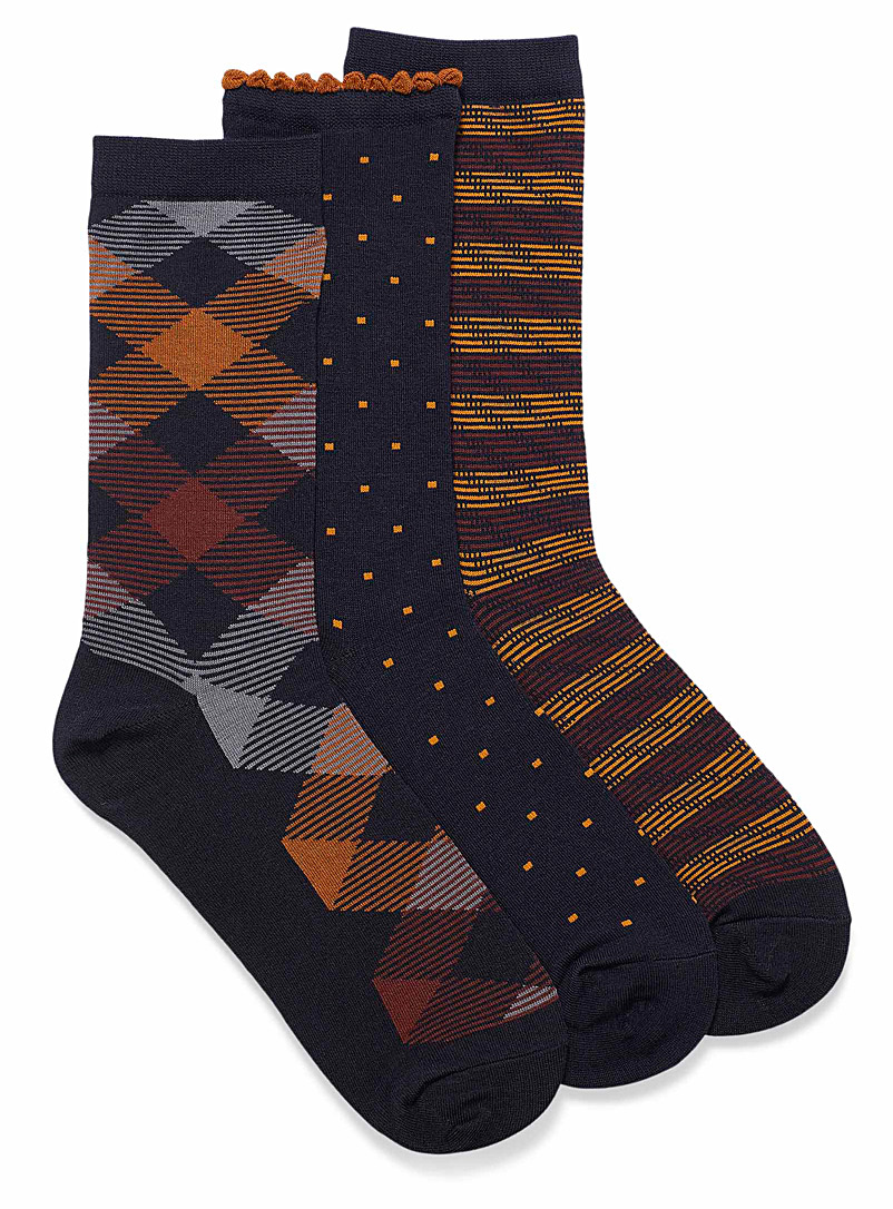 Simons Assorted navy Retro geo scallop socks  Set of 3 for women