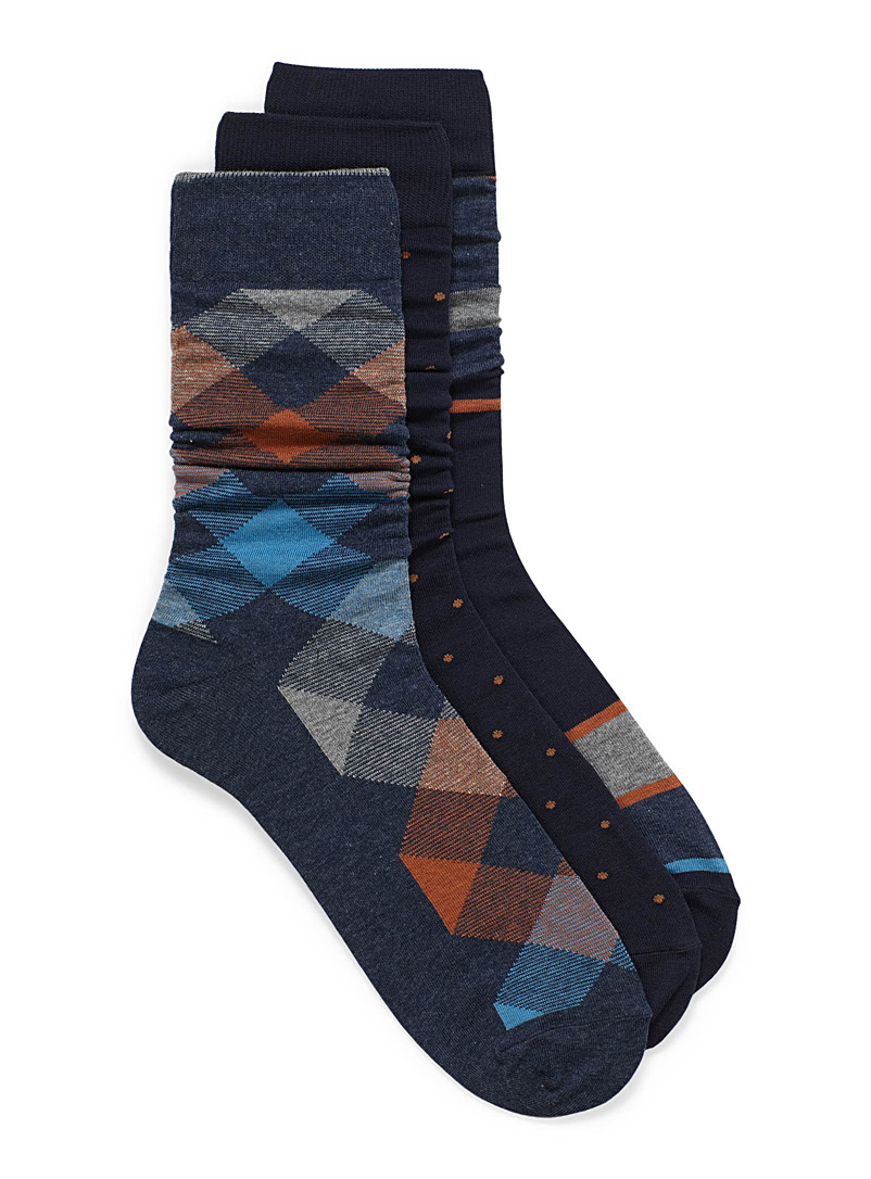 Le 31 Patterned Blue Classic patterns sock 3-pack for men