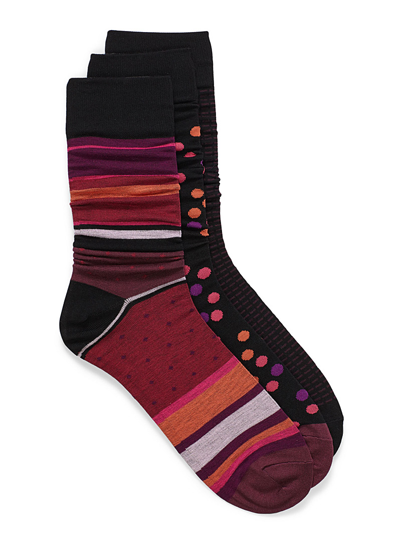 Multi pattern dress sock 3-pack - Dressy socks - Patterned Red