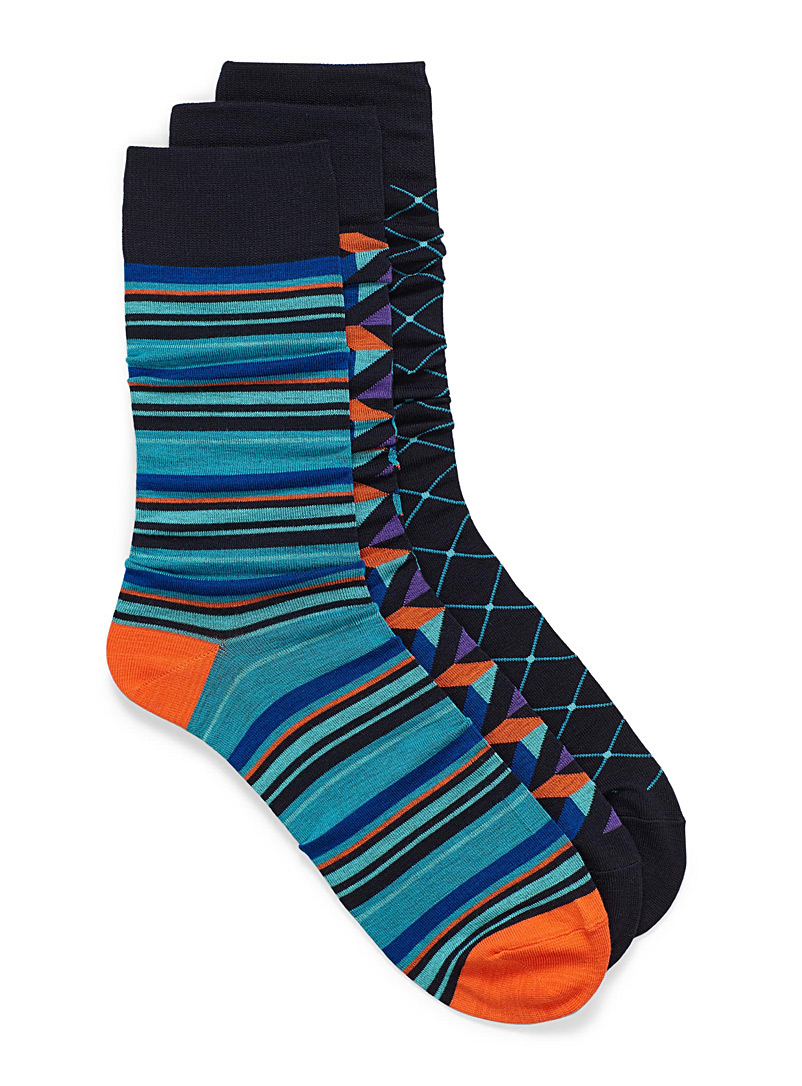 Bamboo geo sock 3-pack - Dressy socks - Patterned Blue