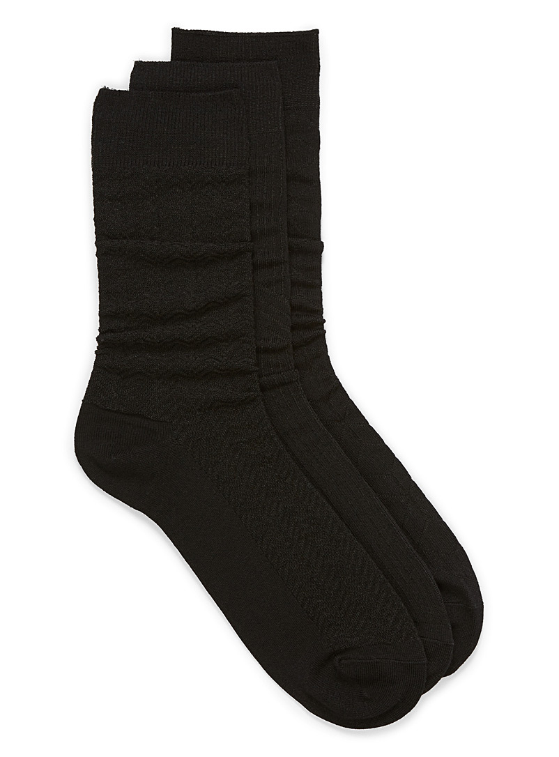 Le 31 Black Multi-textured sock 3-pack for men