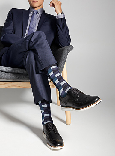 Le 31 Patterned Blue Graphic bamboo rayon socks  3-pack for men
