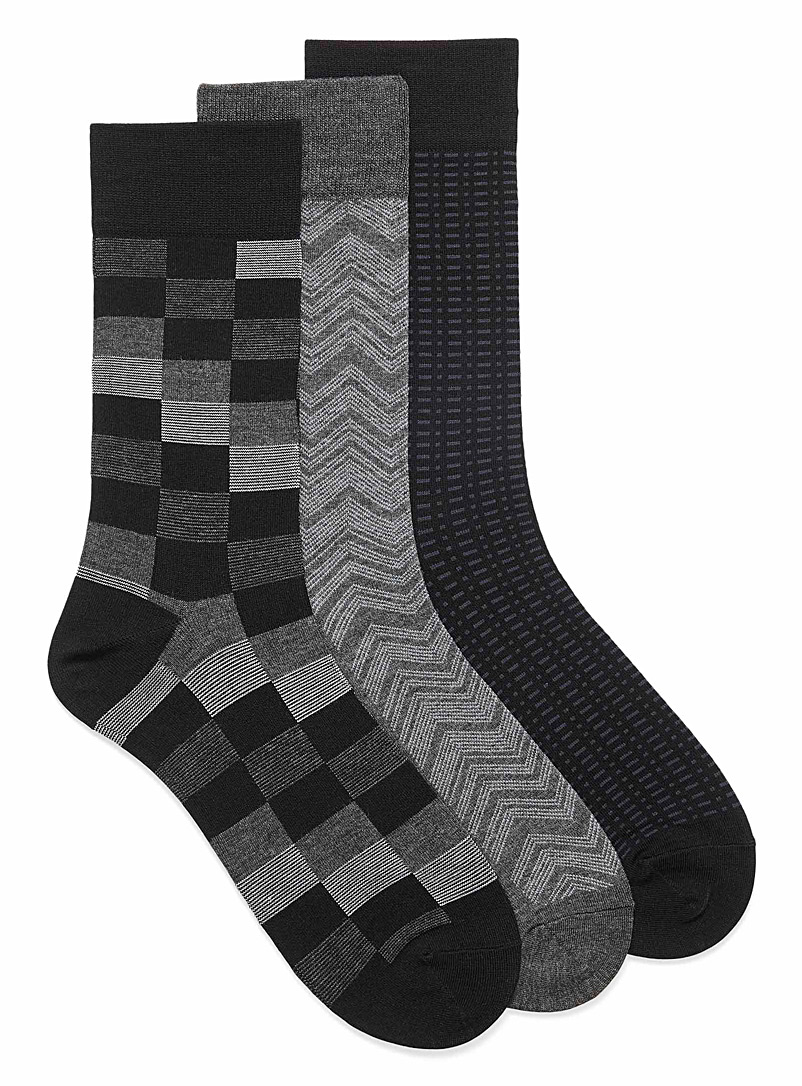 Graphic bamboo rayon socks  3-pack