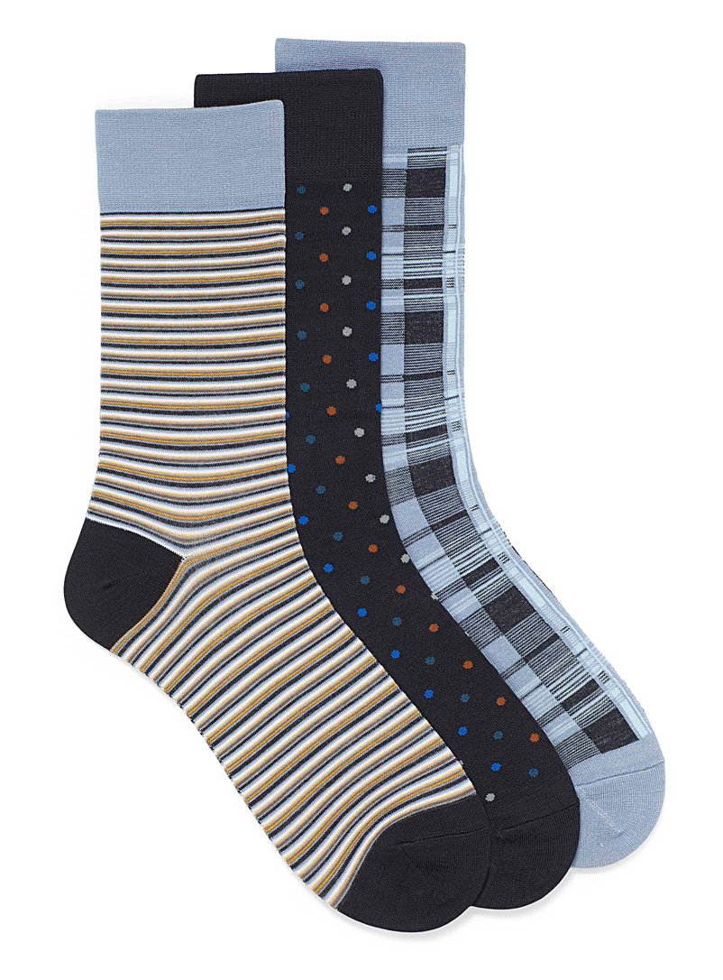 Le 31 Patterned Blue Bamboo rayon printed socks  3-pack for men