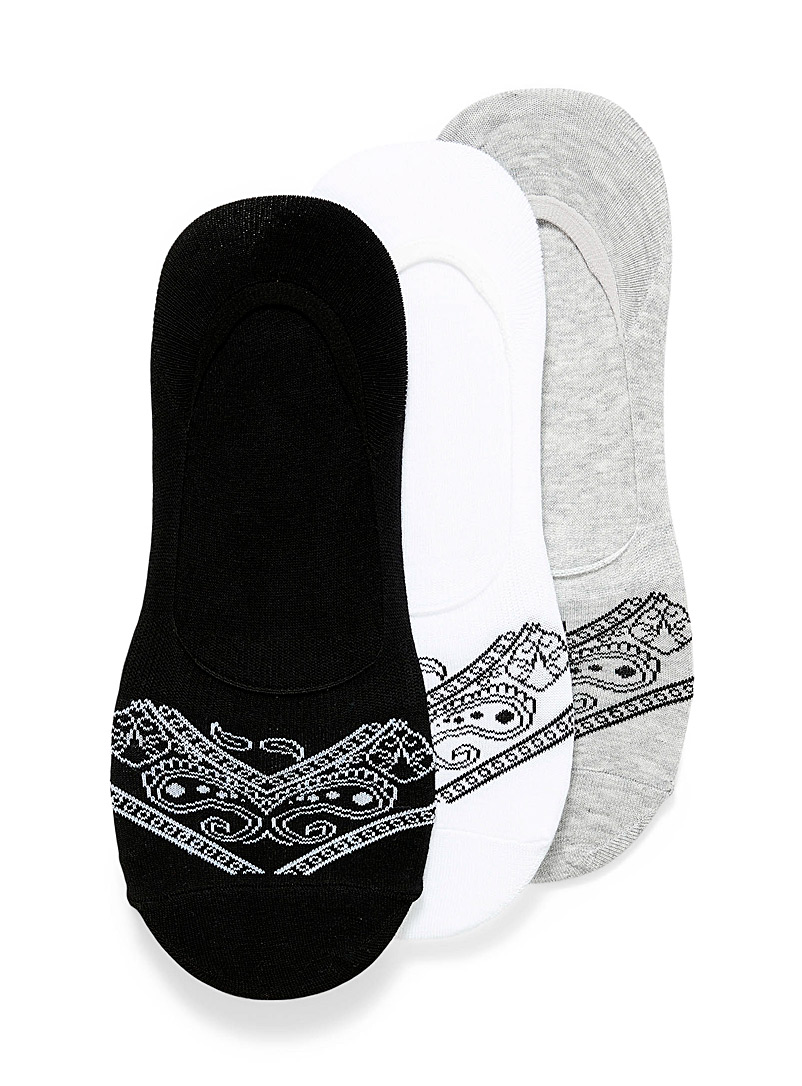 Le 31 Patterned Black Bandana pattern ped socks 3-pack for men