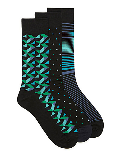 Multi-pattern bamboo rayon socks  3-pack