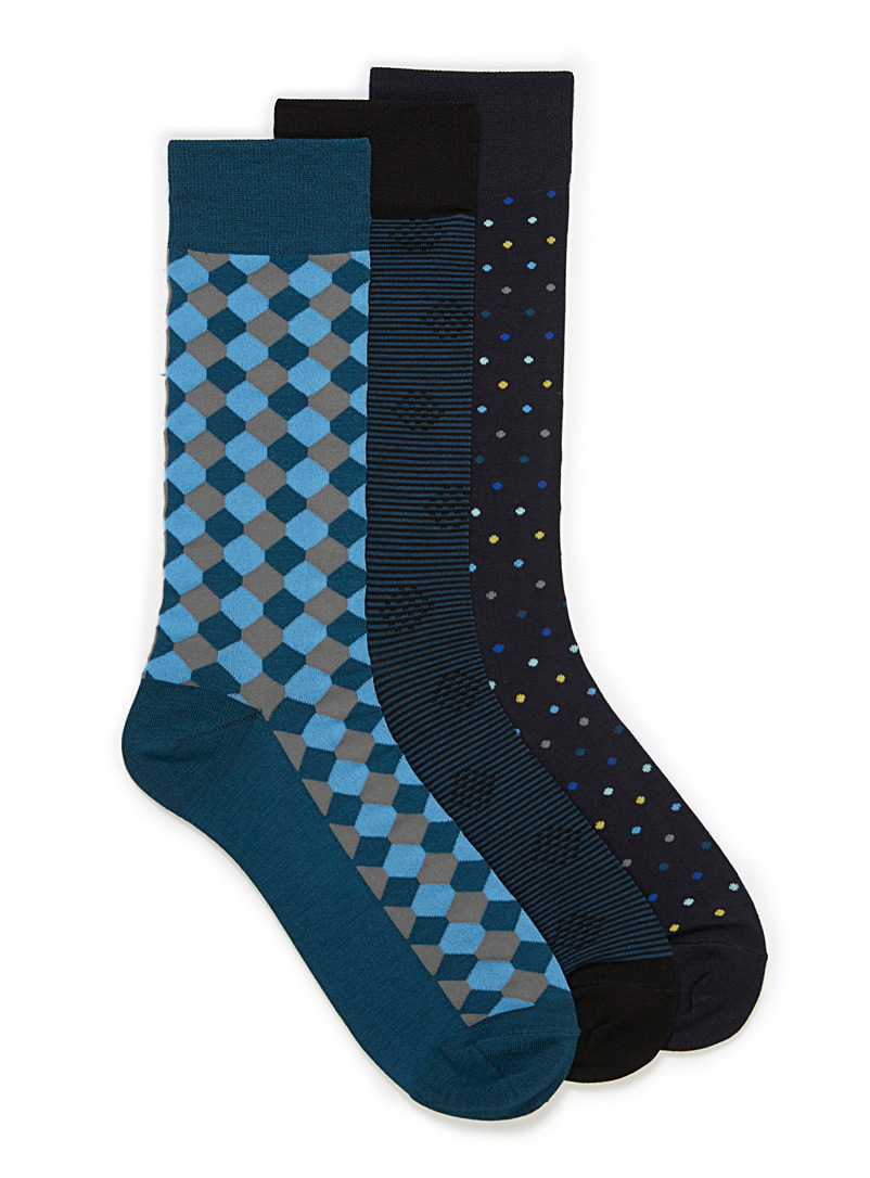 Graphic pattern bamboo sock 3-pack - Dressy socks - Assorted