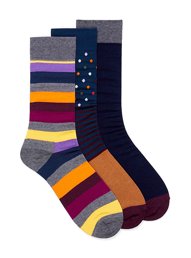 Le 31 Teal Colourful and mixed prints sock 3-pack for men