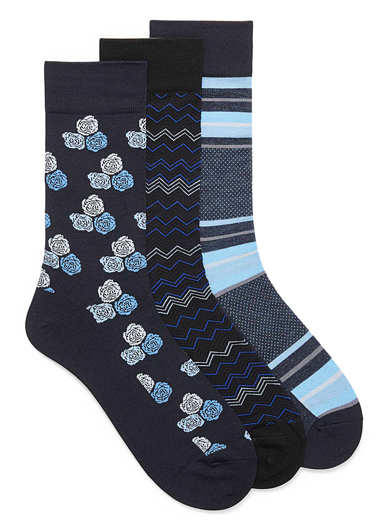 Blue-pattern bamboo rayon socks  3-pack
