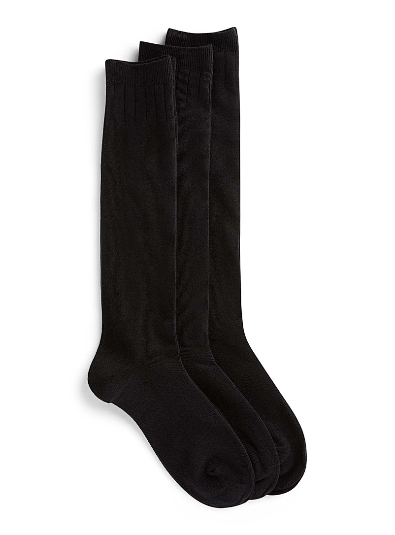 Classic knee-highs  Set of 3 - Knee-Highs - Black
