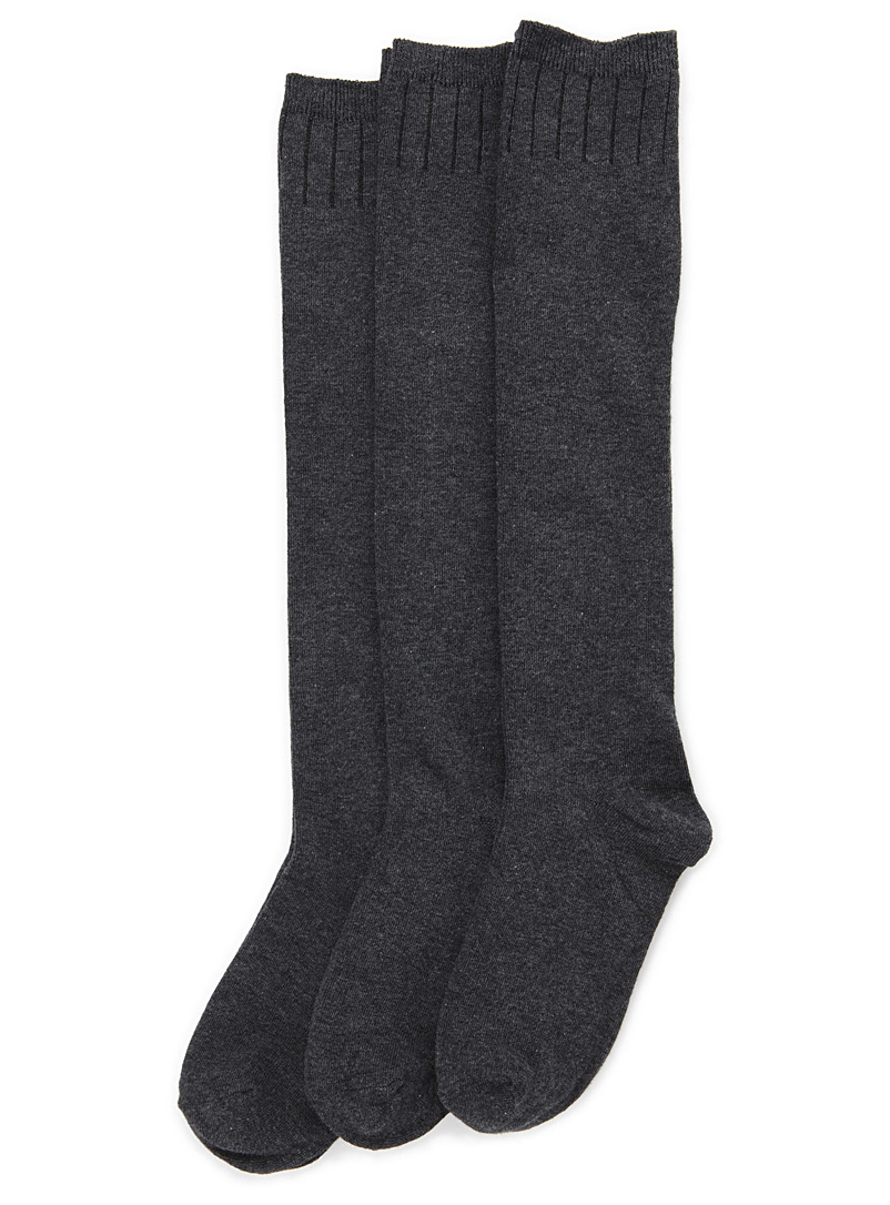 Classic knee-highs  Set of 3 - Knee-Highs - Charcoal
