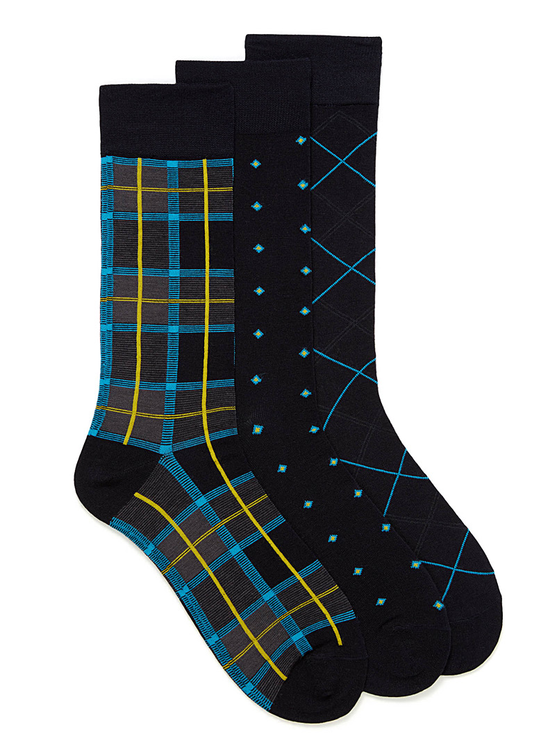 Graphic sock 3-pack - Dressy socks - Patterned Blue