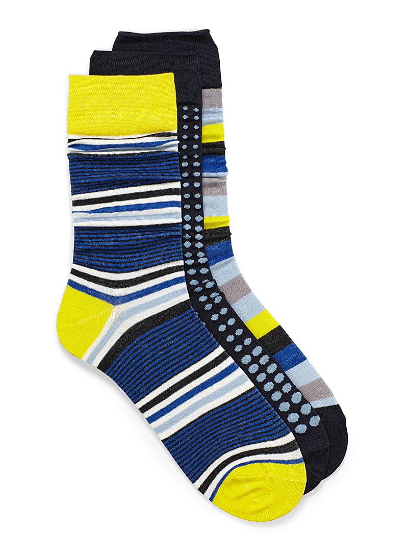 Bright graphic sock 3-pack - Dressy socks - Blue