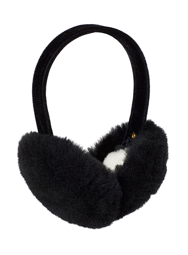 Simons Black Genuine sheepskin earmuffs for women