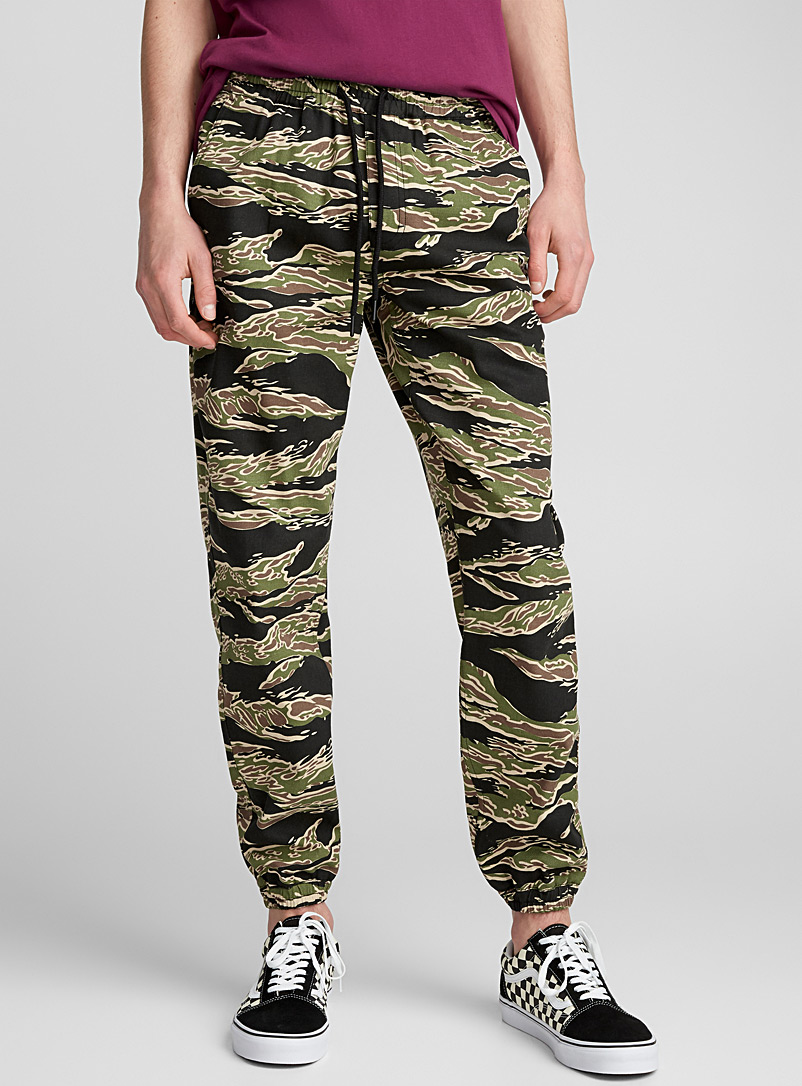 Tiger camo chino joggers - Joggers - Patterned Green