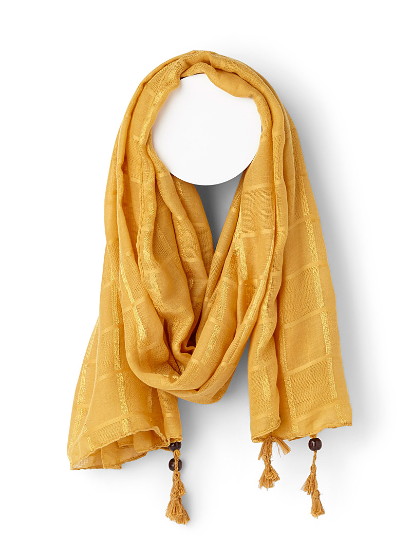 Wooden bead and check scarf - Light scarves - Golden Yellow