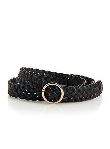 Braided faux-leather belt