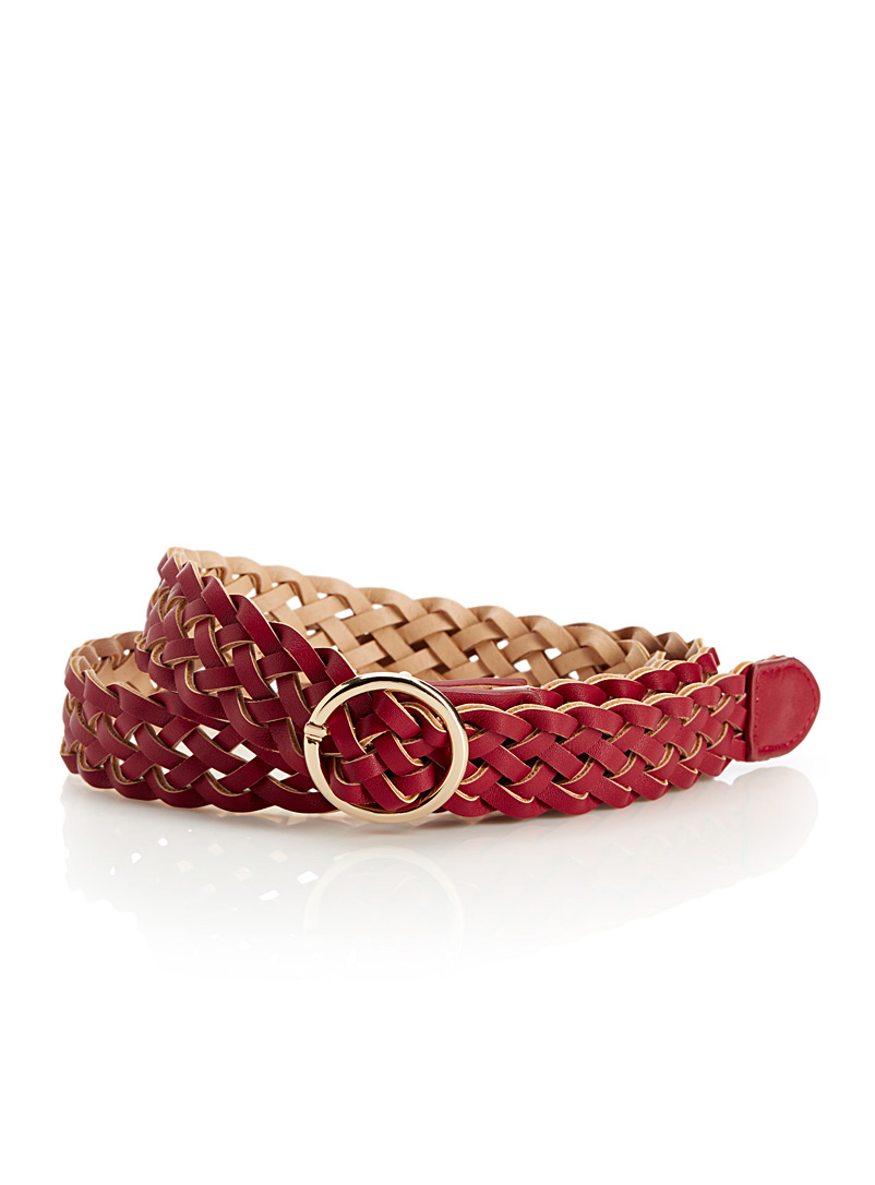 Braided faux-leather belt - Belts - Red