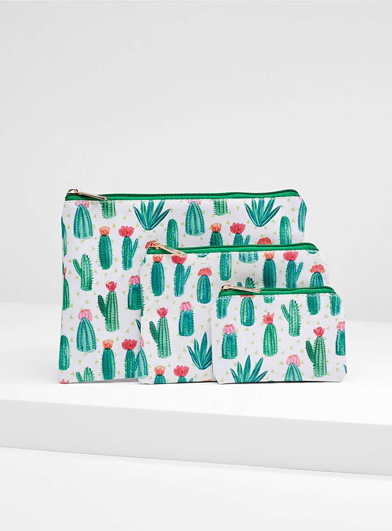 Tiny cactus print cosmetics case  Set of 3 - Cosmetic Bags - Patterned Green