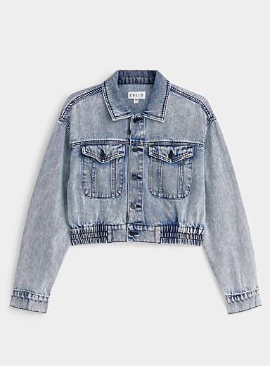 Twik Blue Acid-wash cropped jean jacket for women