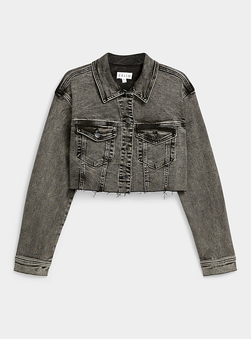 Twik Black Faded black cropped jean jacket for women