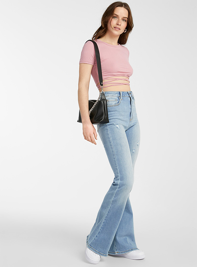 Flared, distressed high-rise jean