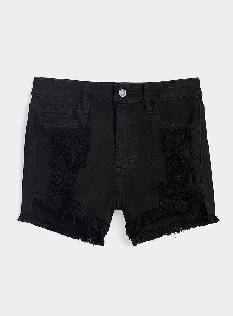 Twik Black Worn black jean short for women