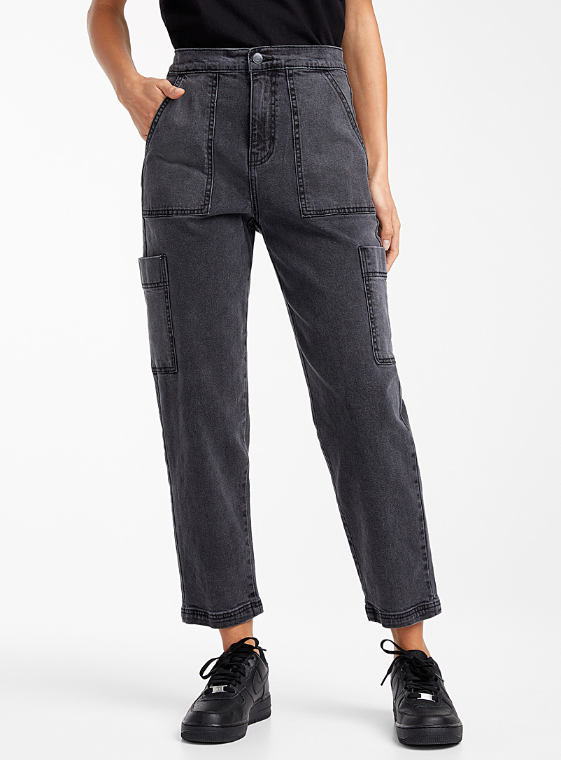 Twik Charcoal  Faded black carpenter pant for women