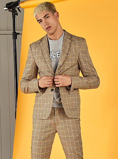 Yellow check jacket  Slim fit