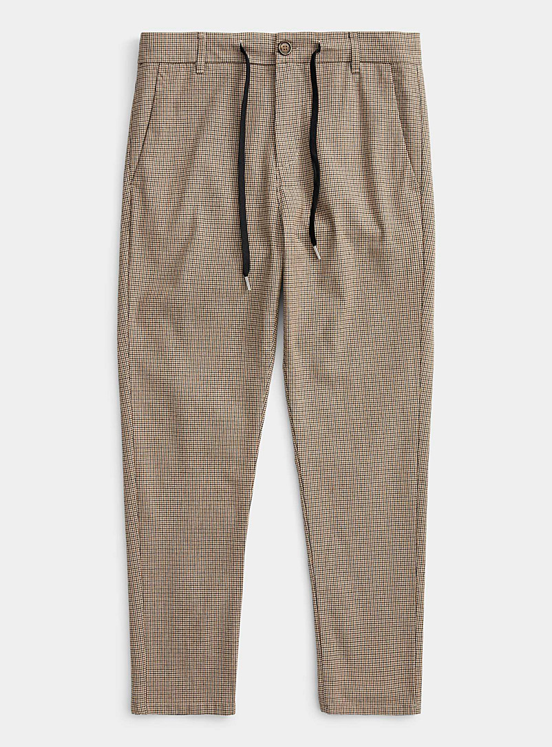 Imperial Cream Beige Cord waist gingham pant  Skinny fit for men
