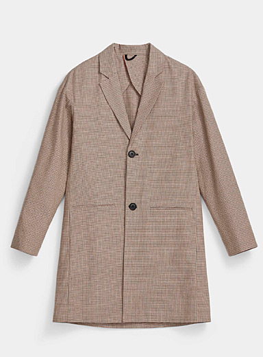 Imperial Cream Beige Gingham trench coat for men