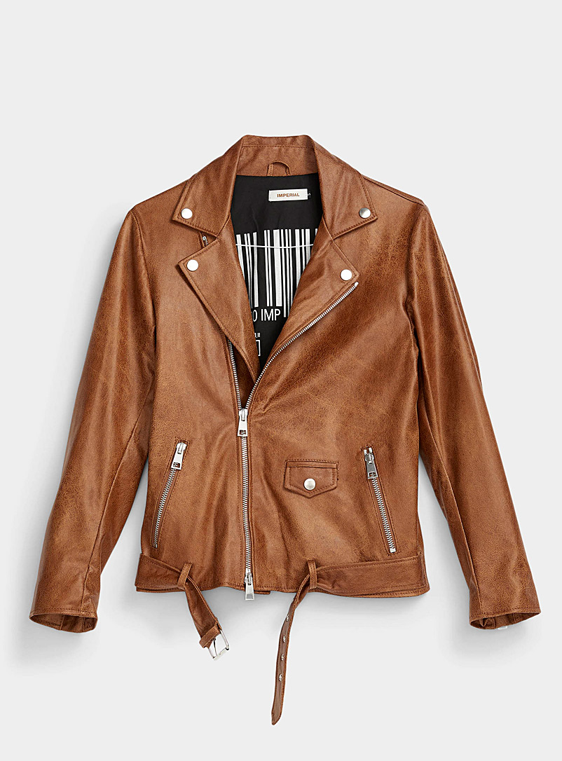 Imperial Brown Crackled faux-leather biker jacket for men