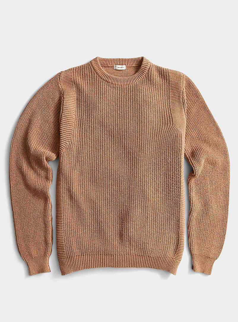 Imperial Honey Ribbed sand sweater for men