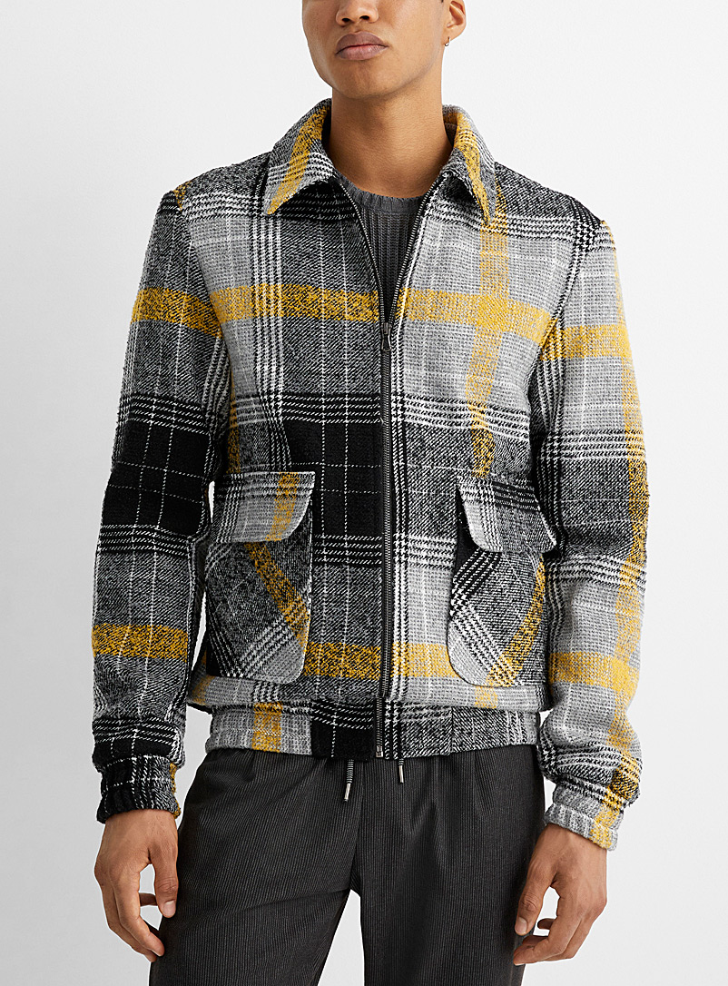 Accent check knit jacket