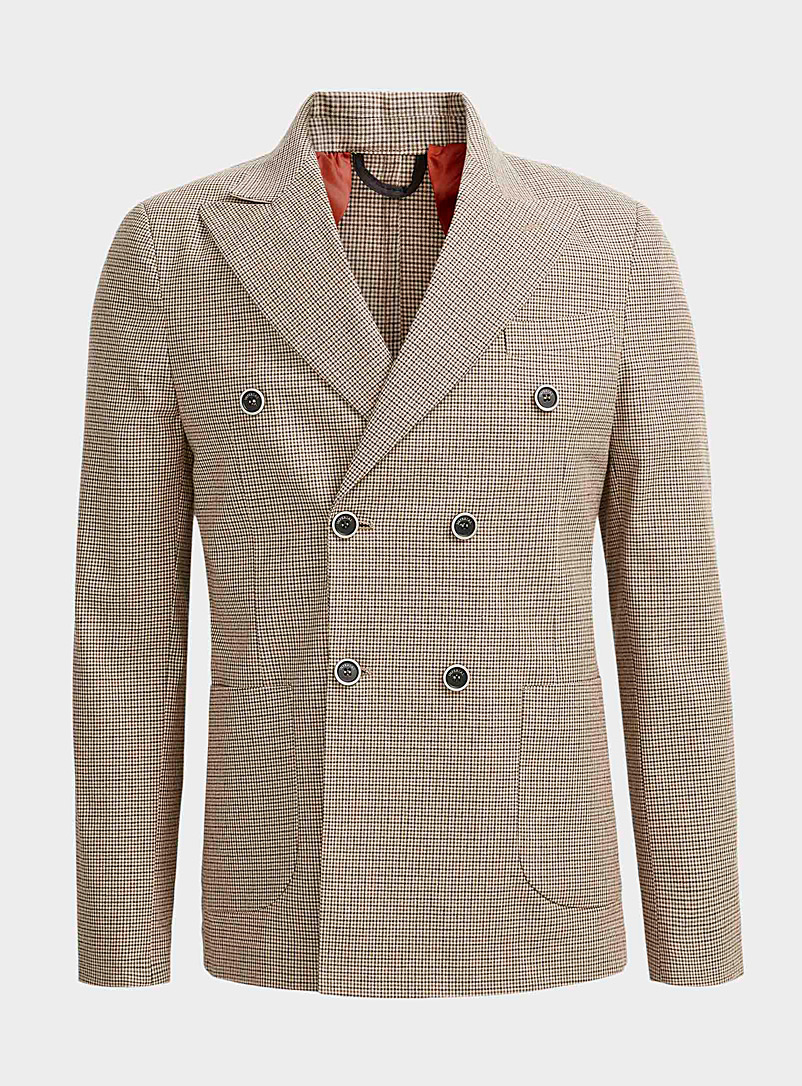 Imperial Cream Beige Gingham check double-breasted jacket  Regular fit for men