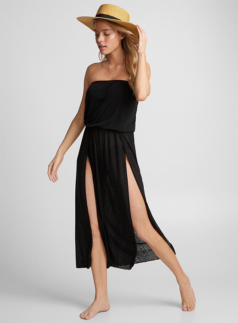 Scoop voile bandeau beach cover-up - Dresses - Black