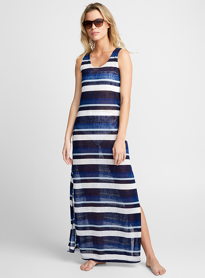 Striped maxi beach dress - Dresses - Patterned Blue