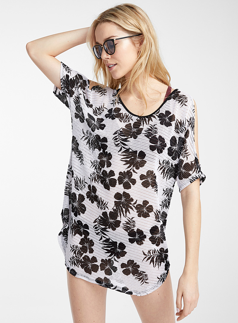 Cover Me Black and White Tropical crochet beach tunic for women