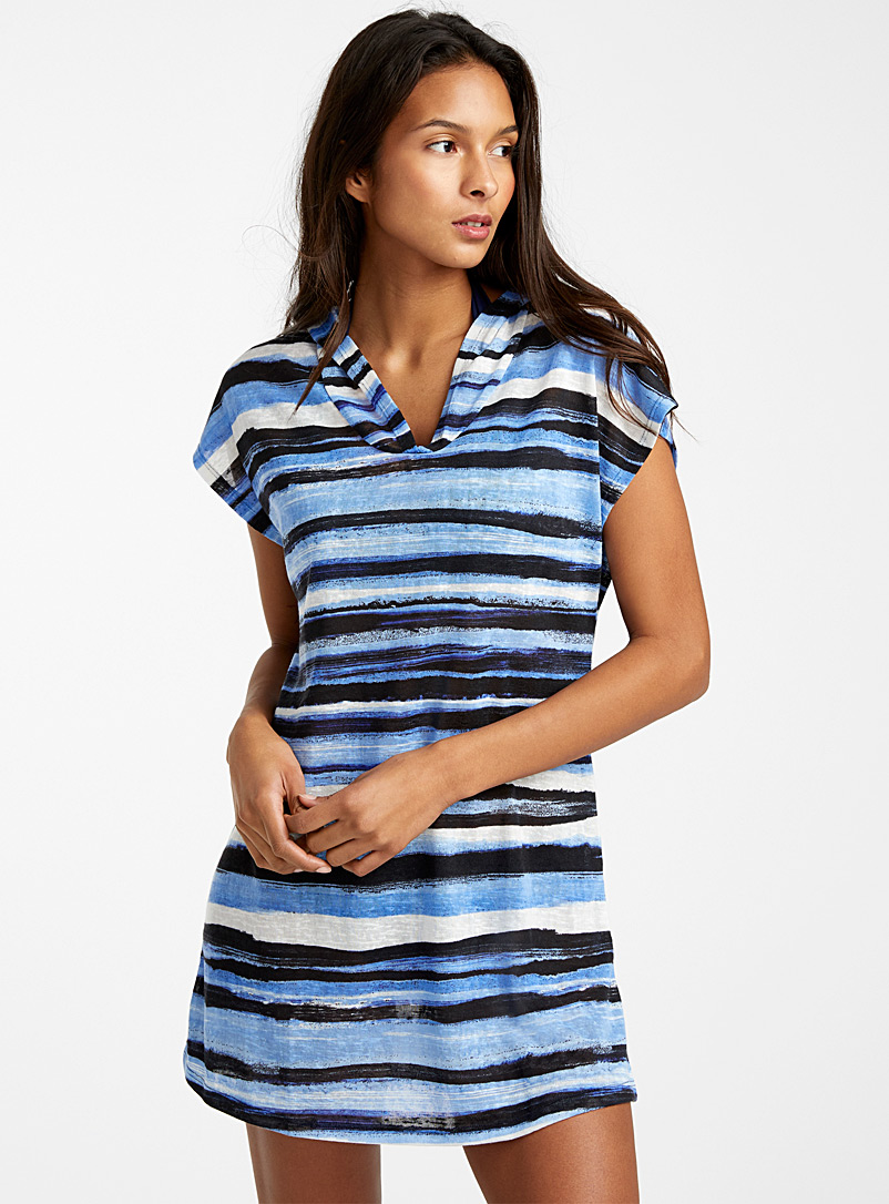 Cover Me Patterned Blue Ocean stripe hooded beach dress for women