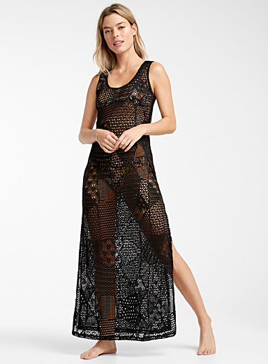 Cover Me Black Full crochet maxi dress for women