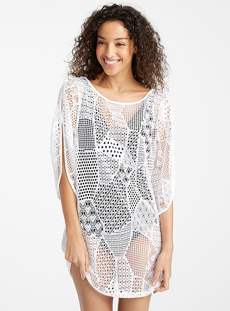 Cover Me White Stretch crochet tunic for women