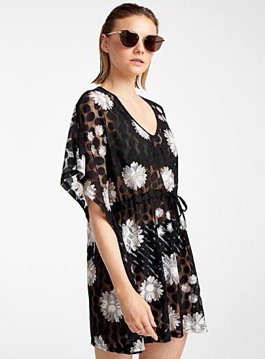Cover Me Patterned Black Floral lace caftan for women