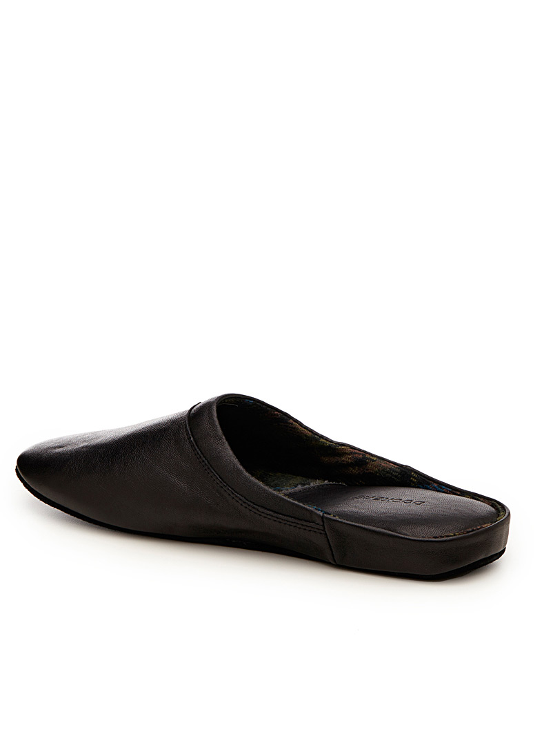 Dockers Black Flannel-lined leather slippers for men
